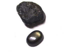 2.41cts Natural Before and After Sample Set of Rough and Cut Black Star Sap