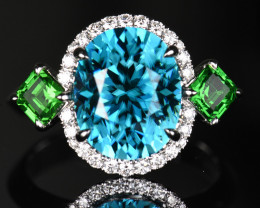 10.26CT NATURAL BLUE ZIRCON & TSAVORITE & DIAMOND 18K WHITE GOLD HA