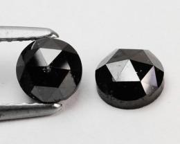 1.39 Cts Natural Black Diamond 2 Pcs Round Rose Cut Africa