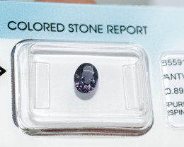 IGI Certificate Natural Purple Spinel 0.89 ct