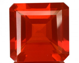 ~FIERY RED~ 3.23 Cts Natural Mexican Fire Opal 9.5 mm Octagon (Emerald Cut)