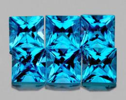 3.80 mm Square 6 pcs 2.10cts Swiss Blue Topaz [VVS]