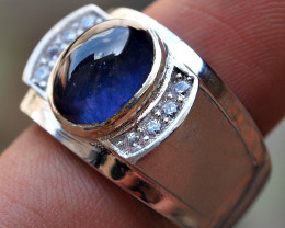 53.25CRT BEAUTY DEEP BLUE SAPPHIRE AFRIKA CUSTOM SILVER RING 925