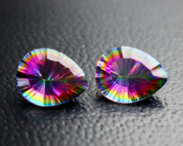 4.15 CT Natural - Coated Mystic Quartz Faceted Gemstone Pair