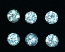 4.12 Cts Natural Sparkling White Zircon 5mm Round 6 Pcs Tanzania