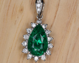 GIA Certified Emerald, Diamonds and 18K White Gold Pendant
