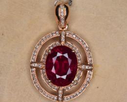 Natural Rubelite, Diamonds and 18K Gold Pendant