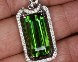 Natural Tourmaline, Diamonds and 18K White Gold Pendant