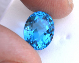 8.94 Carat Fine Oval Checkerboard Cut Swiss Blue Topaz