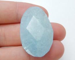 Beautiful Blue Aquamarine Faceted Cabochon ,Handmade Gemstone ,Turquoise Pe