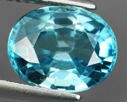 4.00 Cts Dynamic Oval Excellent Blue Natural Cambodia Zircon!!