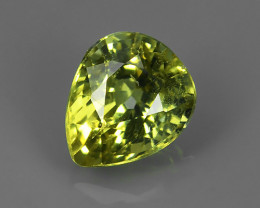 1.10 CTS AMAZING RAREST ! TOP FIRE NATURAL GREEN COLOR PEAR CHRYSOBERYL!!