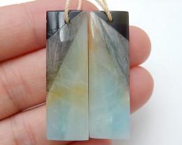 Amazonite ,Obsidian ,Labradorite Intarsia Earring Beads ,Healing Stone C91