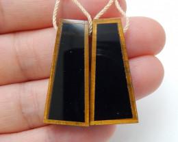 Handmade Gemstone ,Tiger Eyes and Obsidian Intarsia Earrings C97