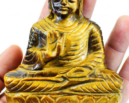 Genuine 1260.00 Cts Golden Tiger Eye Buddha Idol
