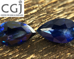 Certified - 0.99ct - Blue Sapphire Pair