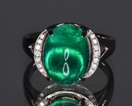 GIA Certified Natural Emerald, Diamonds and 18K White Gold Ring