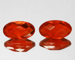 ~PAIR~ 1.73 Cts Fiery Orange Natural Mexican Fire Opal Oval Checkerboards
