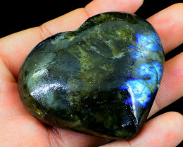 Genuine 515.00 Cts Blue Flash Labradorite Heart Cab