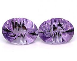 15.11 cttw Pair of Oval Amethysts Fine Purple