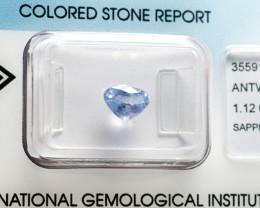 IGI Certificate Blue Sapphire 1.12 ct
