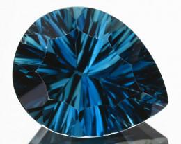 ~CONCAVE~ 6.52 Cts Natural London Blue Topaz Pear Cut Brazil