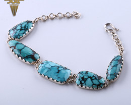 Lucky Turquoise Handmade Sterling Silver 925 Fashion Buckle Bracelet  J0110