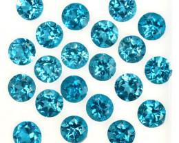 12.48 Cts Natural London Blue Topaz 5 mm Round Cut 21 Pcs Brazil