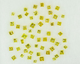 0.81Ct Dazzling Natural Canary Yellow Diamond Square Princess 1.30mm