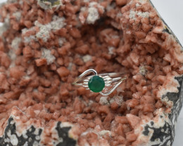 RING 925 STERLING SILVER GREEN ONYX  NATURAL GEMSTONE JE1768