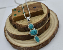 PENDANT 925 STERLING SILVER TURQUOISE  NATURAL GEMSTONE JE 1773