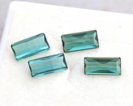 2.64 Carat Phenomenal Set of Scissor Cut Blue-Green Tourmalines