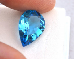 10.49 Carat Fine Pear Cut Swiss Blue Topaz