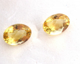 3.95 Carat Matched Pair of Oval Checkerboard Cut Heliodor Beryl