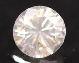 0.17Ct Tinted White Diamond Untreated Round Brilliant Cut Fancy E170