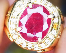 PINKISH RED RUBY WITH HANDMADE RING*