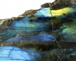 """503.40 CTS  LABRADORITE -PART POLISHED""""""""-ELECTRIC MIDNIGHT [F7791"""