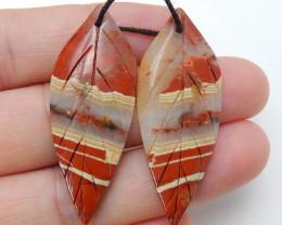 Carved Red River Jasper Earrings ,Healing Stone ,Summer Gemstone C144