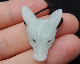 Hand Carved Wolf Head Pendant Natural Nephrite Gemstone C150