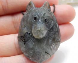 Hand Carved Wolf Head Pendant Natural Labradorite Gemstone C155