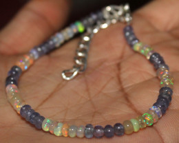 19 Crt Natural Ethiopian Opal & Tanzanite Beads Bracelet