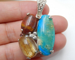 Sterling Silver 925 With Blue opal, Wood Fossil, Gold Rutilated Quartz Inta