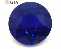 3.7 ct Round Natural Sapphire GIA Certified Ethiopian Unheated with Inscrip