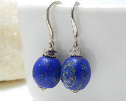 New Design Hot Sale Lapis Lazuli Round Earrings , 925 Sterling Silver Findi