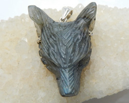 New Design Labradorite Carved Wolf Head Necklace Pendant, 925 Sterling Silv