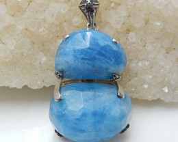 New Arrival!!! Sterling Silver 925 Blue Aquamarine Necklace Pendant J0132