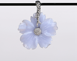 New Design Blue Lace Agate Carved Flower Necklace Pendant in 925 Sterling S