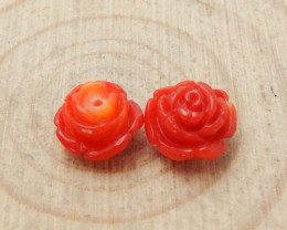 Hot sale Red Coral Carved Flower Earrings bead, stone for jewelry designer