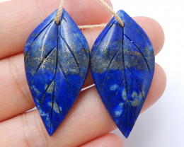 Hot sale Lapis Lazuli Carved leaf earrings beads, stone for earrings making