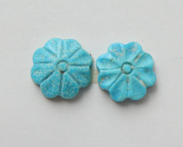 2 pcs Turquoise Carved Flowers Cabochon Pairs ,Turquoise Beads H4421